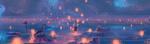 Обои Девушка стоит в воде среди летящих в небо горящих фонариков, by MORNCOLOUR