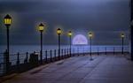Обои Вечер. Луна встающая из-за горизонта