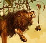 Обои Лев в сетке смотрит на мышку, by Pixxus