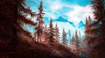 Обои Пожелтевшие ели на горных склонах из игры Скайрим / Skyrim, by WatchTheSkiies