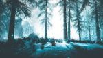 Обои Ели на заснеженной поляне из игры Скайрим / Skyrim, by WatchTheSkiies
