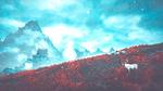 Обои Лось стоит на горном склоне, поросшем красным кустарником, впереди замок, из игры Скайрим / Skyrim, by WatchTheSkiies