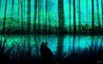 Обои Силуэт кошки у озера в лесу