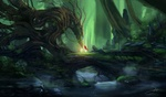 Обои Красноволосая девушка стоит на мосту и общается с духом деревьев в сказочном лесу, by Blinck