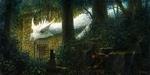 Обои Белый дракон в таинственном саду, кошка и спрятавшийся мальчик