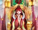 Обои Девочка-жрица сидит на нефритовом троне рядом золотой дракон