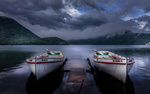 Обои Две лодки на Lake Haruna, Takasaki / озере Харуна, Такасаки у мостика, Япония
