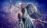 Обои Девушка с крыльями за спиной, с цепями на руках, сидит на ветке дерева, by deejjoy