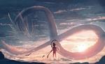 Обои Мальчик с копьем и белый дракон, by JW