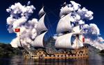 Обои Красивое парусное судно на фоне белых облаков