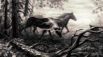 Обои Две лошади в лесу, by Alaiaorax