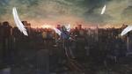 Обои Девушка-ангел, одетая в школьную форму, парит над городом