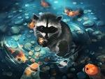 Обои Енот с монетками в лапках сидит в фонтане, в котором плавают золотые рыбки