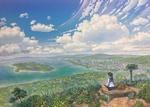 Обои Девочка с кошкой рядом сидит на фоне панорамного вида на море и город под облачным небом
