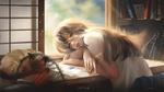 Обои Девушка прилегла на стол рядом с кошкой, by g-tz