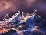 Обои Танцующие, вышедшие из волн девушки, by AquaSixio