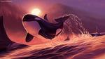 Обои Дельфин над водой, by Ciorano