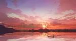 Обои Человек в лодке на фоне заката, by Mr. echo