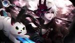 Обои Белокурый парень с зеленоглазым котом, by Aeusthetic