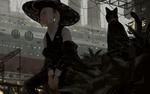 Обои Девушка в шляпе с сигаретой во рту сидит рядом с кошкой, by GUWEIZ