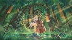 Обои Девушка с виолончелью стоит в лесу