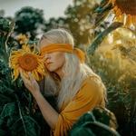 Обои Девушка -блондинка с завязанными глазами у подсолнуха, фотограф Janusz Zolnierczyk