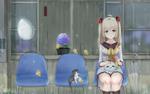 Обои Девушка, цыплята и котенок прячутся от дождя