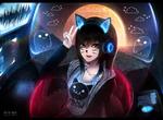 Обои Темноволосая голубоглазая девушка с ушками, с кошачьими ушками и носиком, by Aeusthetic