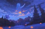 Обои Девочка в обаках над лесом собирает с неба звезды, by Sylar