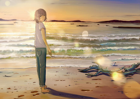 Девушка на морском берегу