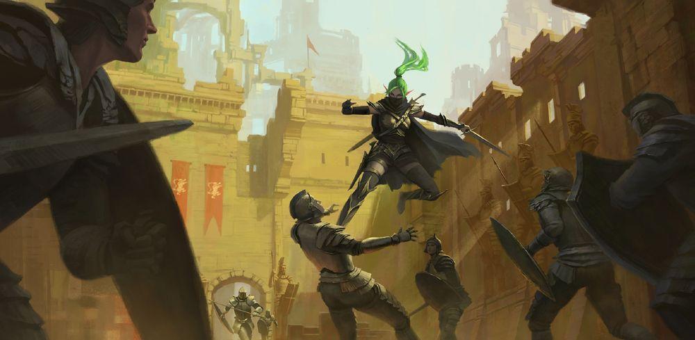 Обои для рабочего стола Бой зеленоволосой девушки-ассасина со стражей замка, by Tan Yu Chi