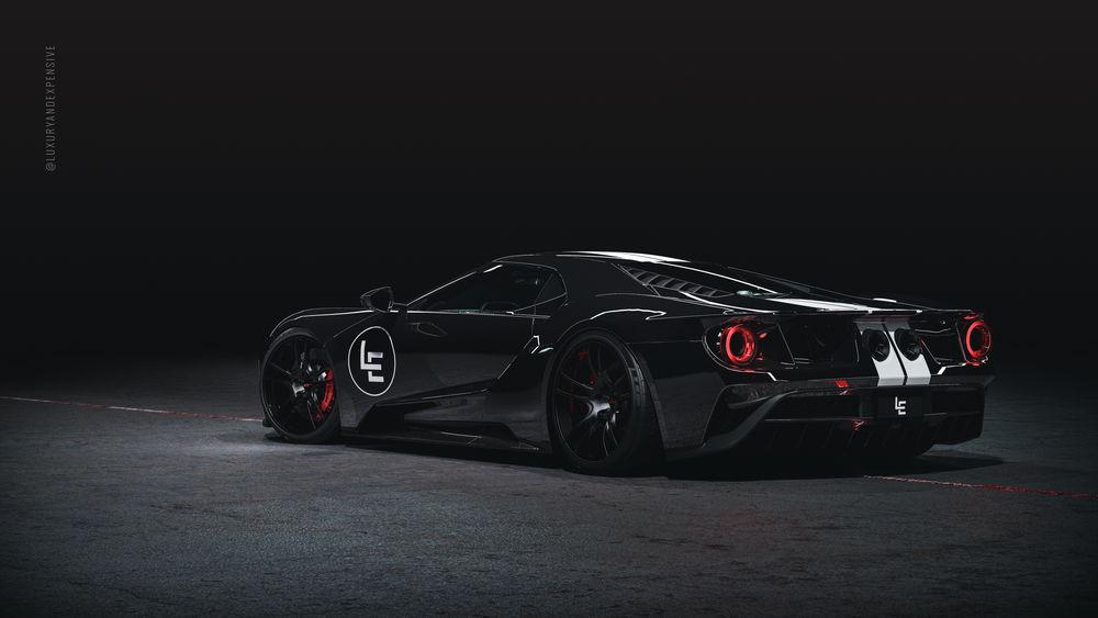 Обои для рабочего стола Черный суперкар Ford GT 2019