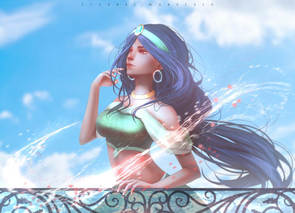 Обои для рабочего стола Princess Jasmine / Принцесса Жасмин из мультфильма Aladdin / Алладин, by Eternal-Wanderer-art