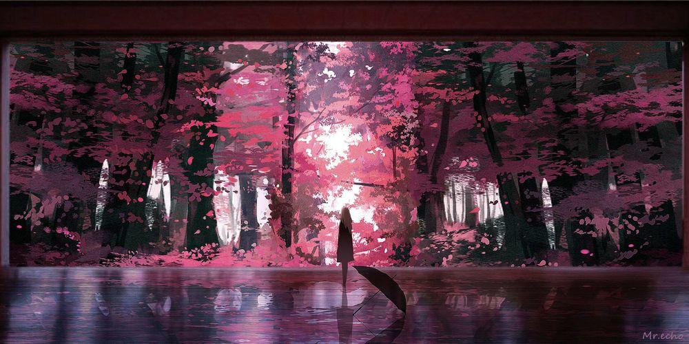 Обои для рабочего стола Девушка стоит на фоне осеннего леса, by Mr. echo