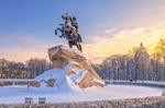 Обои Медный всадник, памятник Петру I на Сенатской площади в Санкт-Петербурге в зимний день