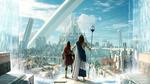 Обои Посейдон и спартанский наемник Алексиос смотрят на Атлантиду, арт к игре Assassin's Creed Odyssey / Кредо Убийцы Одиссея