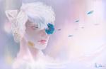 Обои Белокурый с кошачьими ушками парень, с синей розой, by katrimav