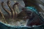 Обои Битва монстров, арт к фильму Godzilla: King of the Monsters / Годзилла 2: Король монстров, by Juninho Albert