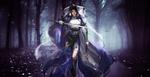 Обои Девушка-воин с мечом идет по вечернему лесу
