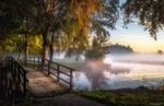 Обои Мостик на реке в утреннем тумане, by Herman van den Berge