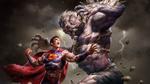 Обои Superman VS Doomsday / Супермен против Думсдэя-суперзлодея комиксов издательства DC Comics, by Alon Chou