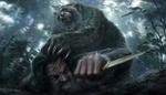 Обои Нападение разъяренного медведя с красными глазами на охотника с ножом в лесу, by Tan Yu Chi