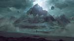 Обои Девушка смотрит на горный хребет, окутанный туманом, среди планет, by jordangrimmer