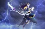 Обои Богиня с молниями в руках в грозовом небе, из игры Laruna: Age of Kingdoms, by Luciano Komorizono
