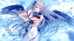 Обои Девочка с длинными голубыми волосами с крыльями за спиной играет на скрипке