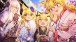 Обои Четыре девчонки в кимоно отправились любоваться цветением сакуры, персонажи из мобильной стратегической игры Girls Frontline