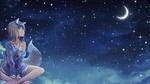Обои Horo / Хоро сидит и любуется месяцем в ночном небе из аниме Spice and Wolf / Волчица и пряности