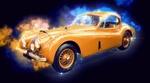 Обои Стилизованное под живопись изображение авто Jaguar-xk-140 купе, by ArtTower