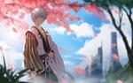 Обои Саката Гинтоки / Sakata Gintoki под опадающими лепестками сакуры на фоне неба из аниме Гинтама / Gintama