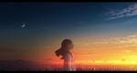 Обои Девушка с закрытыми глазами стоит на фоне заката